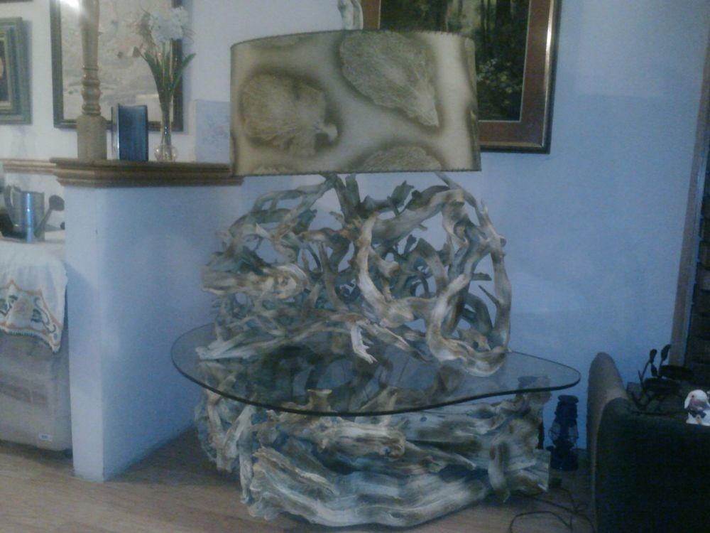 Accent Table Vintage Driftwood Lamp