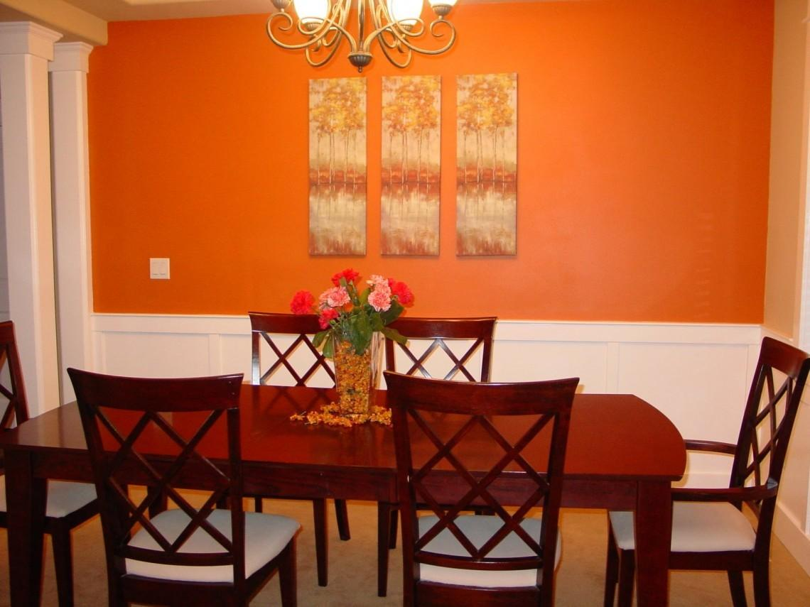 Accent Walls Dining Room Home Orange