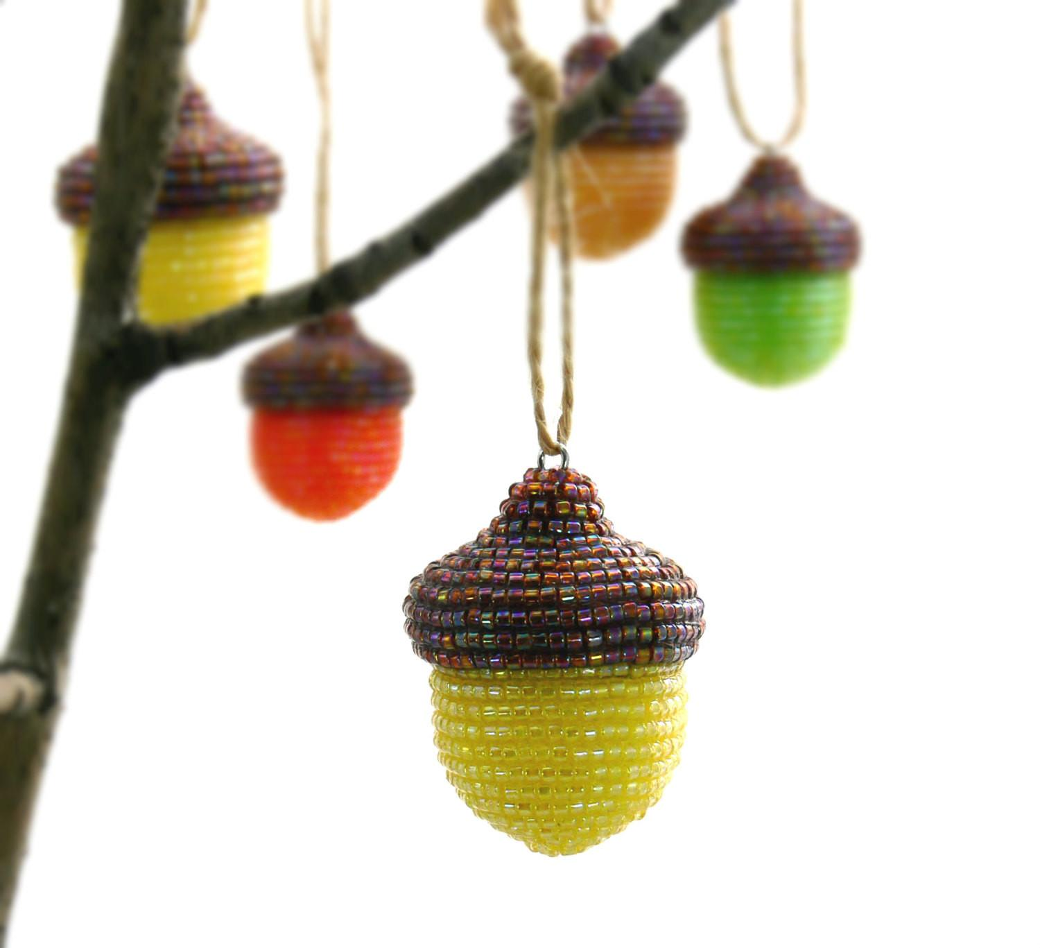 Acorn Christmas Ornament Yellow Beaded Fall Woodland