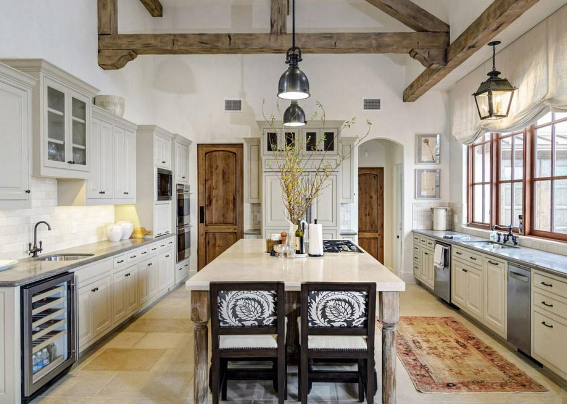 Added Black Ceiling Fans Farmhouse Kitchen Two Tone Old