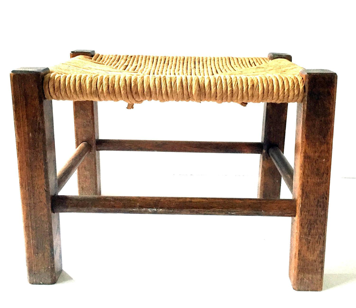 Adorable Antique Woven Rope Footstool