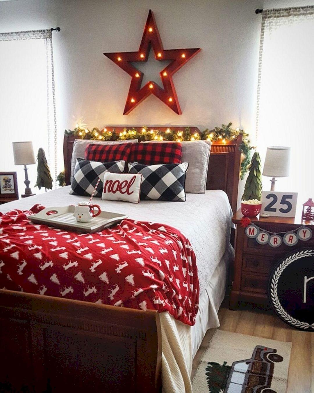 Adorable Interior Themed Christmas Bedroom Decorating