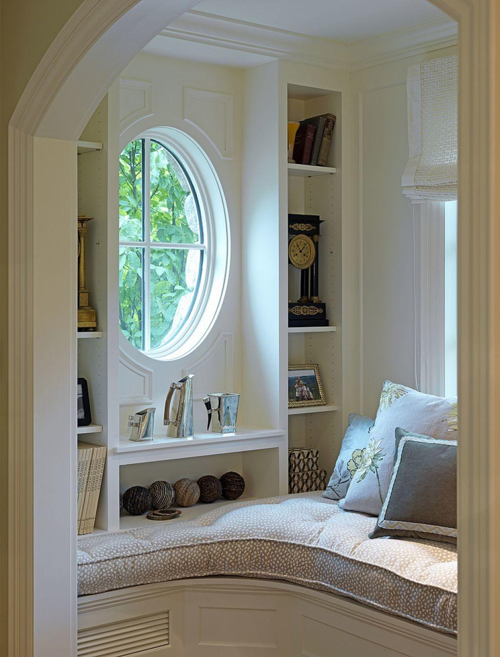 Adorable Round Window Side Cute Storage Right Nook