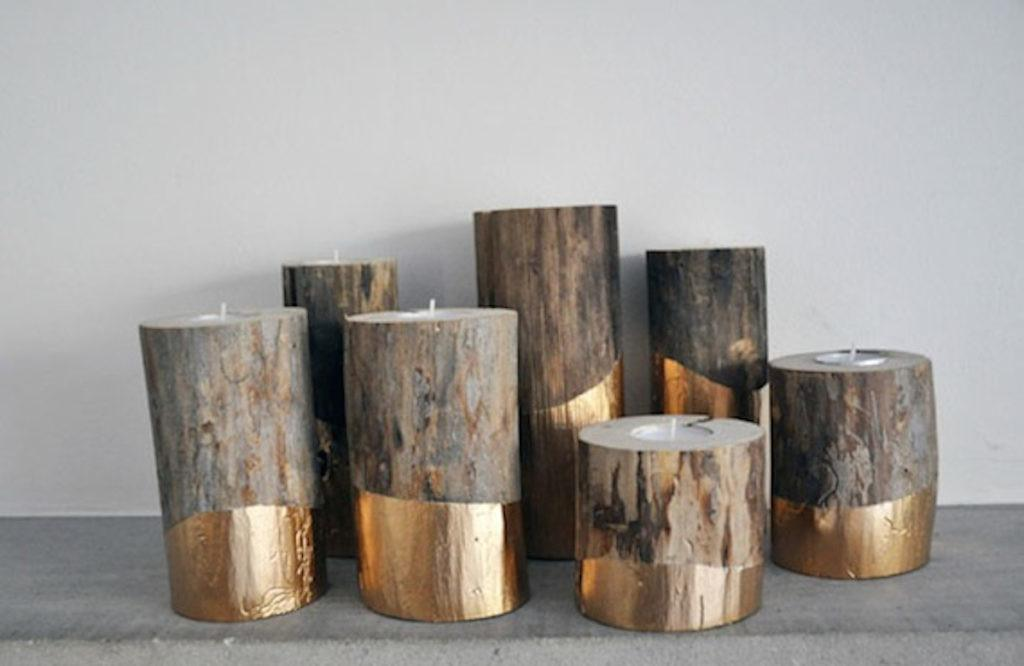 Advent Diy Day Gold Dipped Log Candleholders