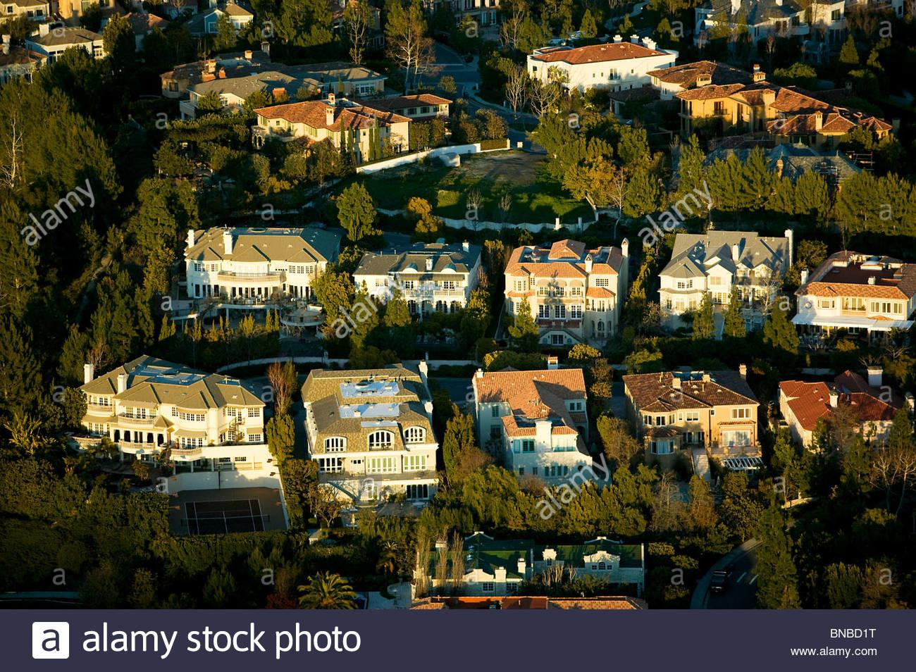 Aerial Above Beverly Hills California Mansions Stock