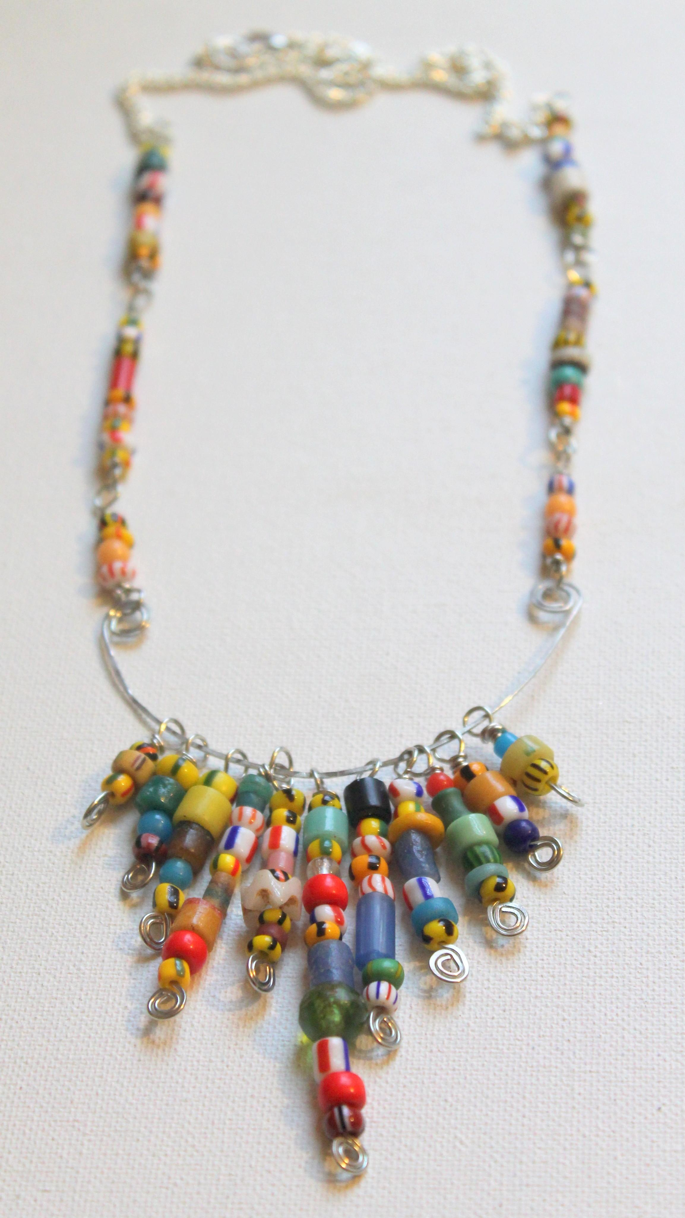 African Christmas Bead Wire Statement Necklace Tutorial