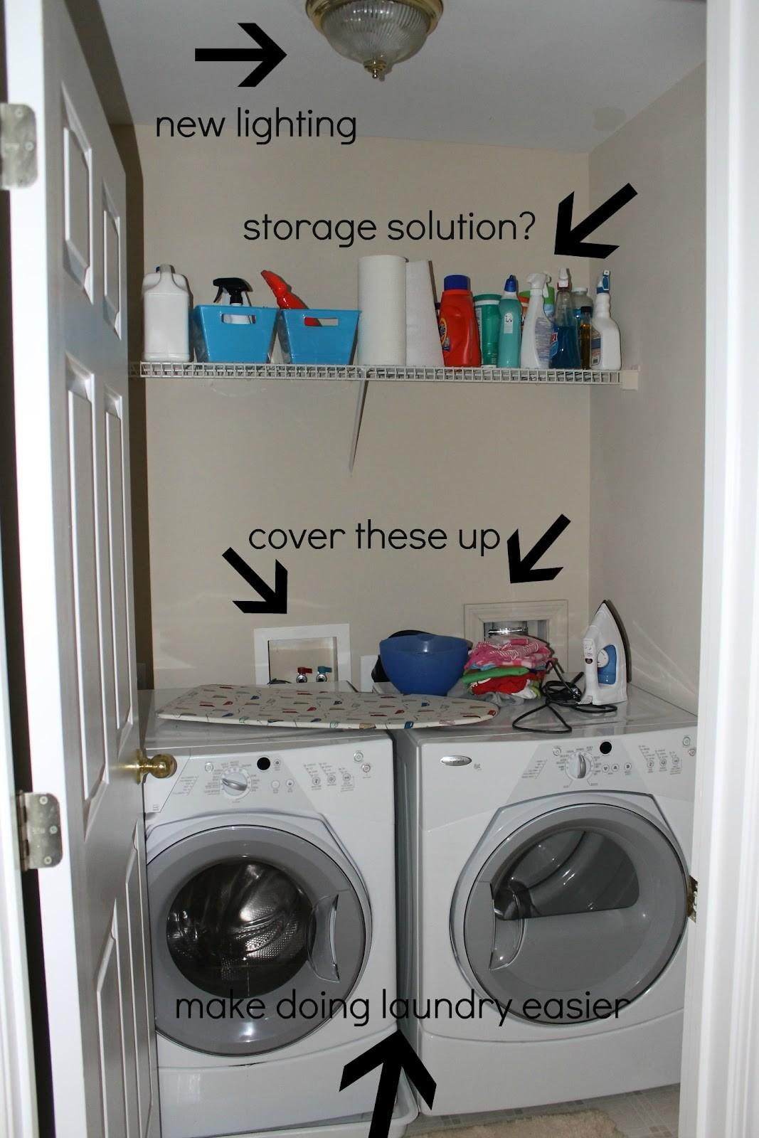 After Makeover Small Laundry Room Design New Lighting