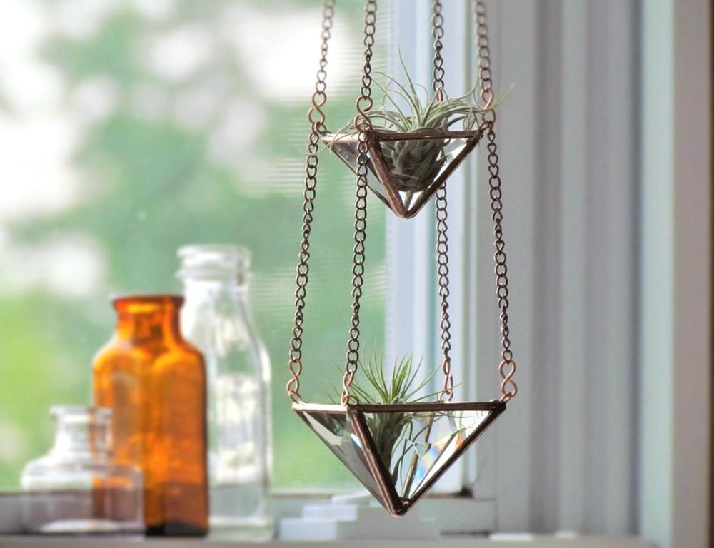 Air Plant Holder Mini Tiered Faceted Stained Glass Hanging