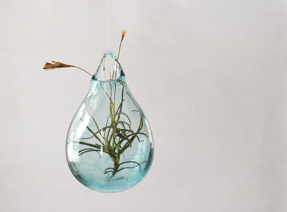 Air Plant Vase Hand Blown Glass Transparent Pale Blue