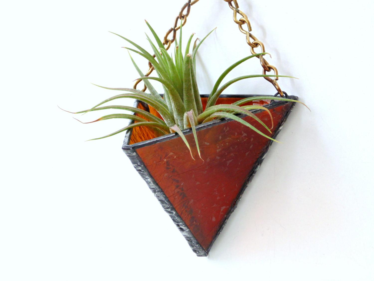 Airplant Holder Dark Orange Stained Glass Hanging Planter