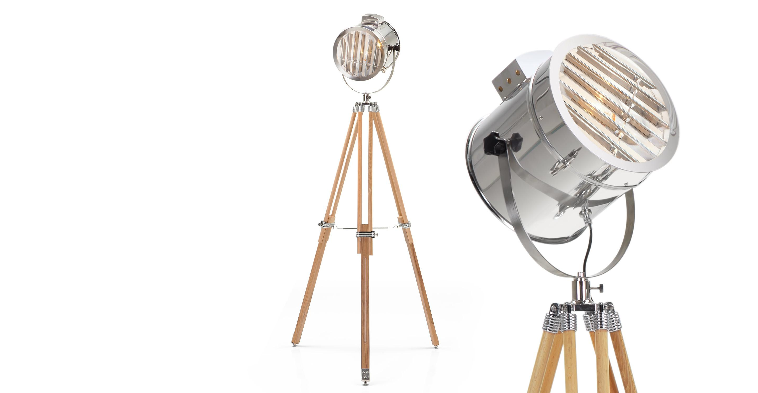 Alfred Tripod Floor Lamp Natural Wood Made