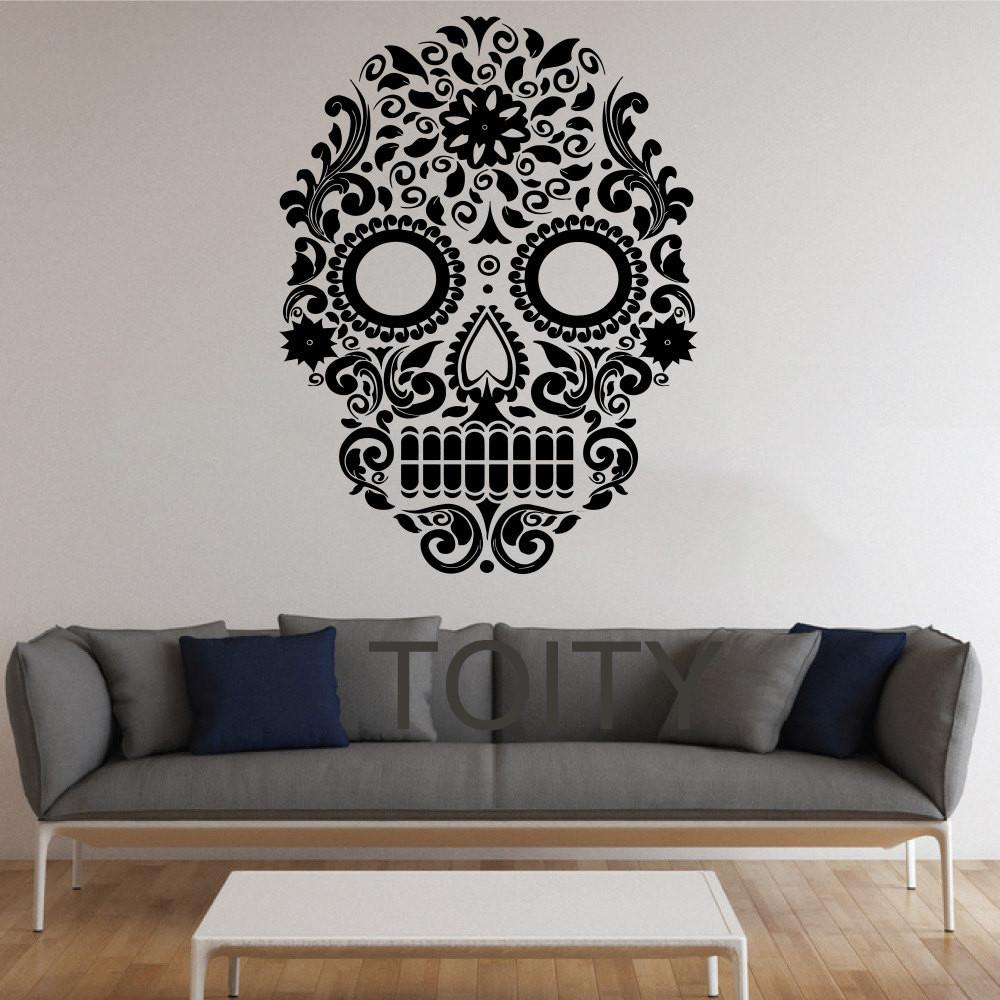 Aliexpress Buy Sugar Skull Wall Stickers Mexican Art