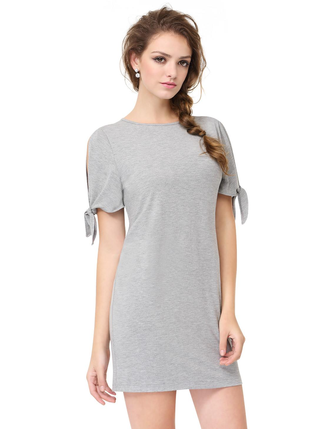Alisapan Women Grey Casual Party Shift Summer Dress