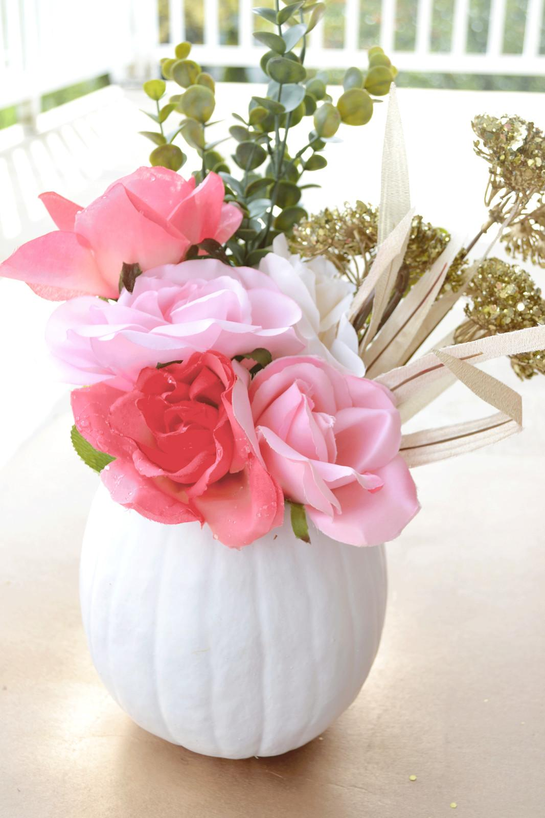 All Things Pink Pretty Diy Floral Pumpkin Centerpiece