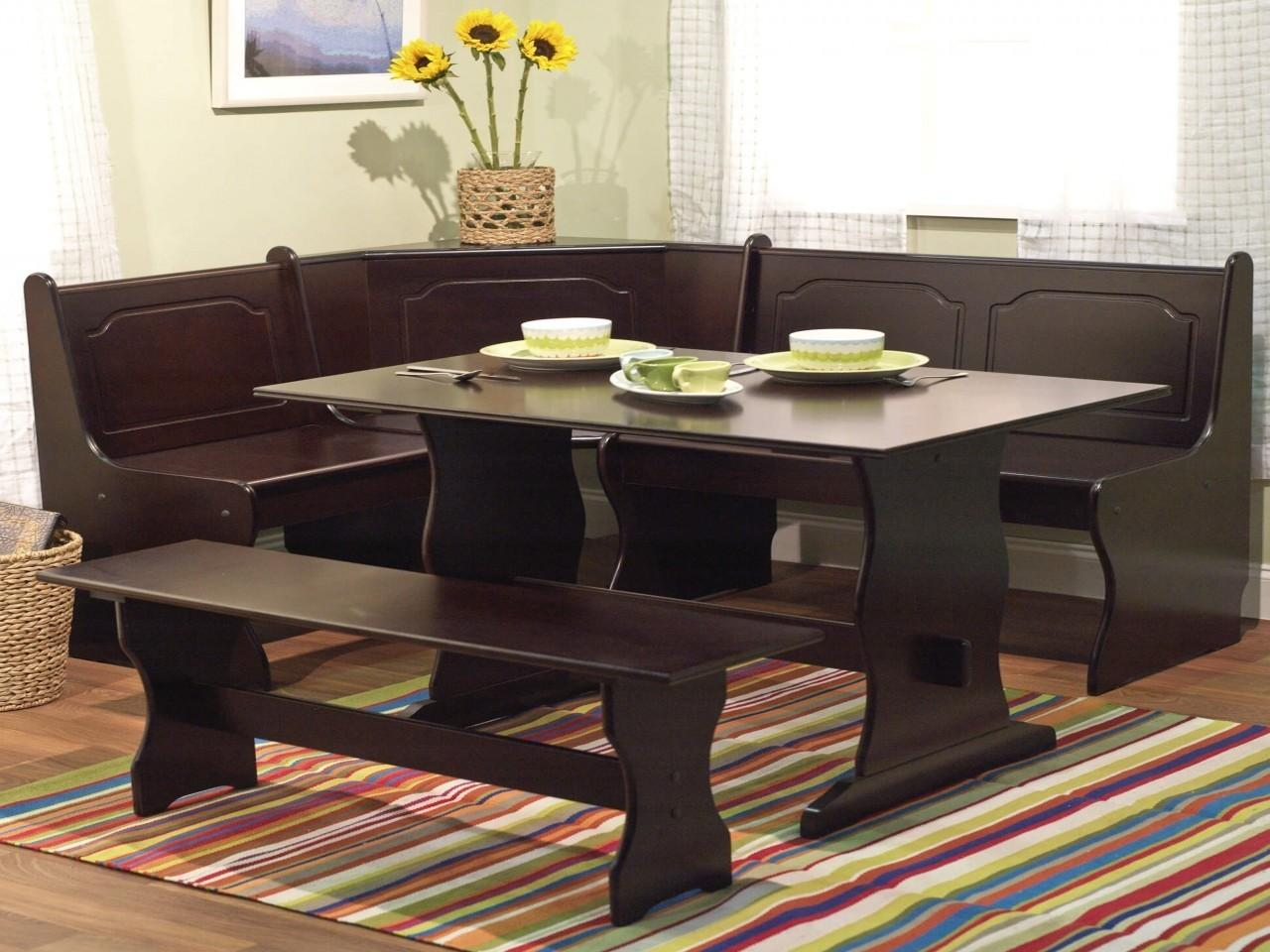 All Wood Dining Room Table Space Saving Corner Breakfast