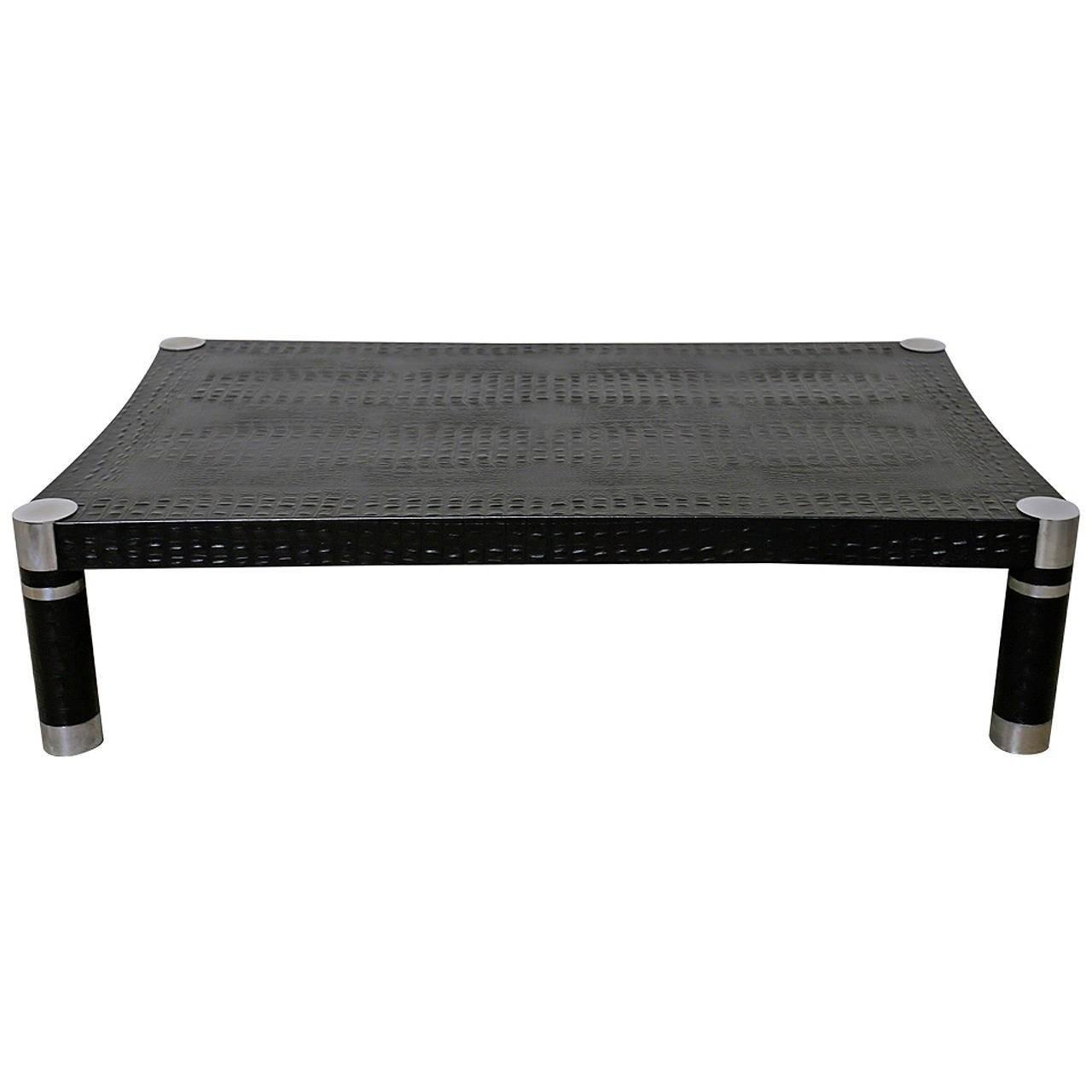 Alligator Embossed Leather Coffee Table Karl Springer