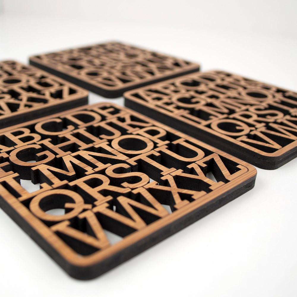Alphabet Coasters Modern Typography Wood Set