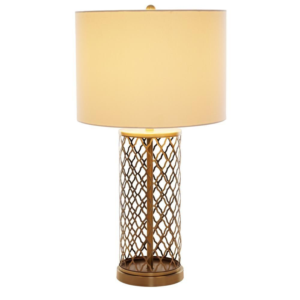 Alsy Antique Brass Laser Cut Table Lamp White
