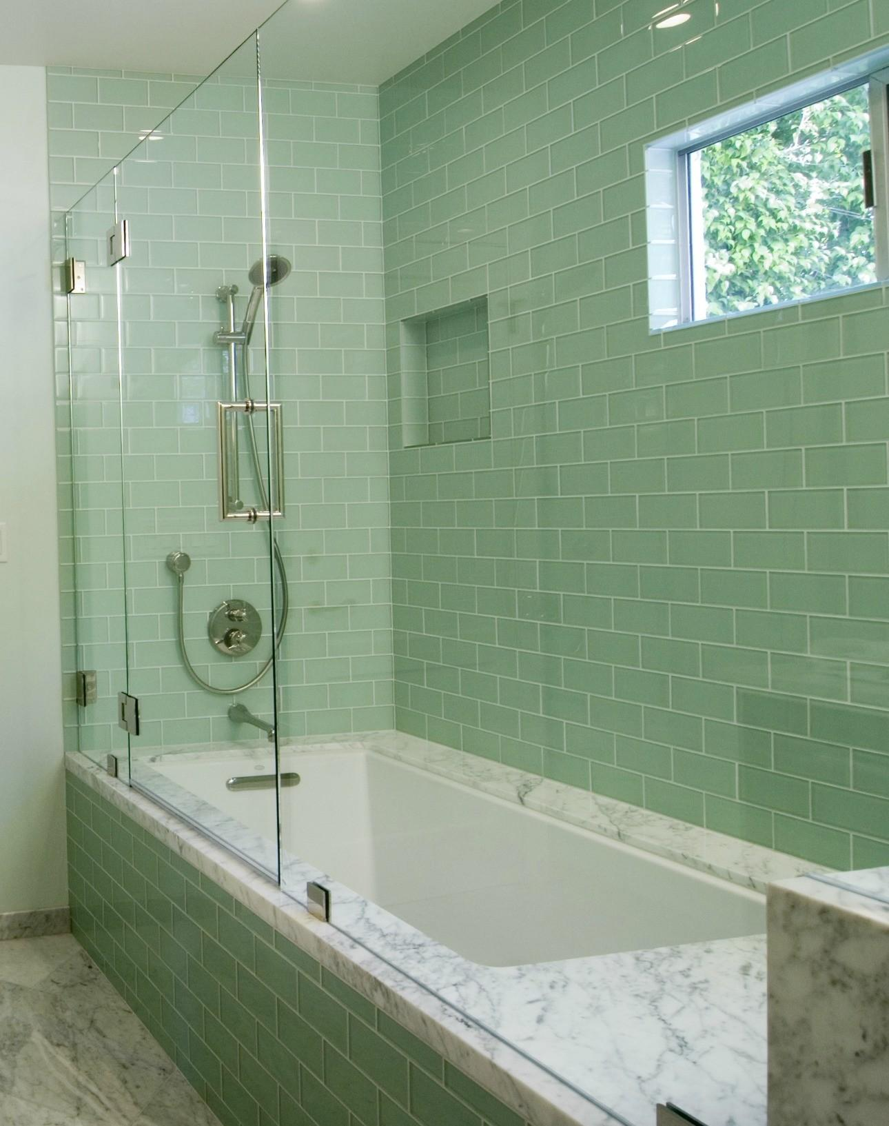 Amazing Bathroom Makeovers Glass Tile