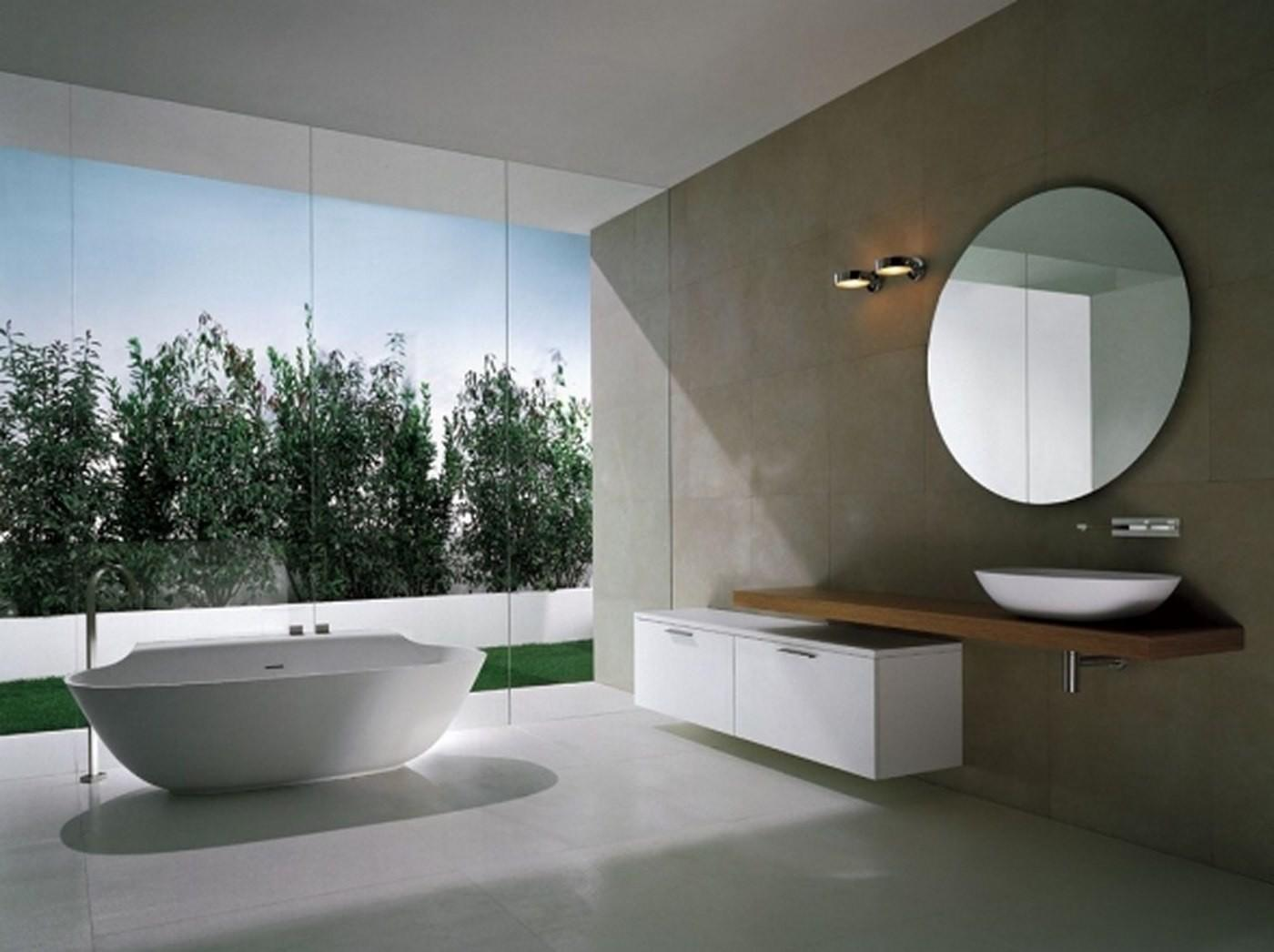 Amazing Bathroom White Scoop Bathtub Big Glass Window