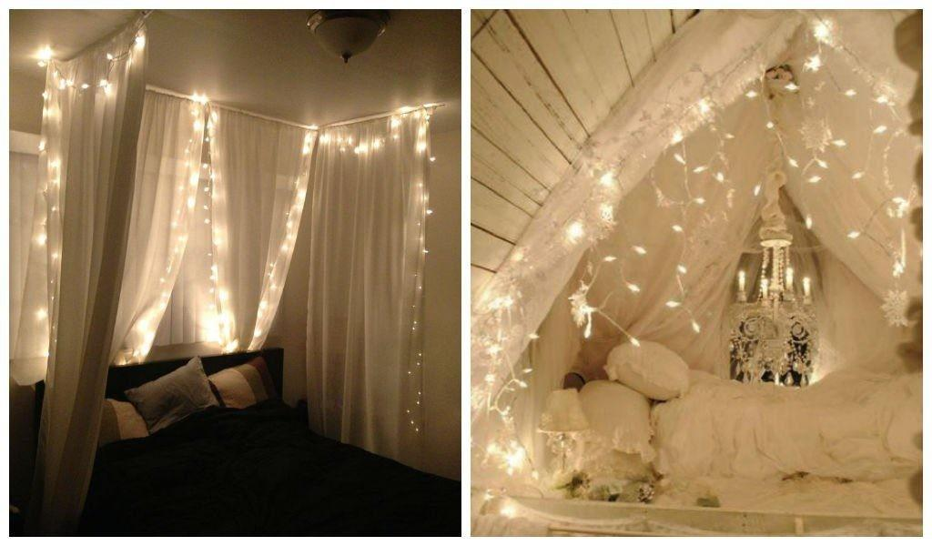Amazing Canopies String Lights Ideas Bedroom