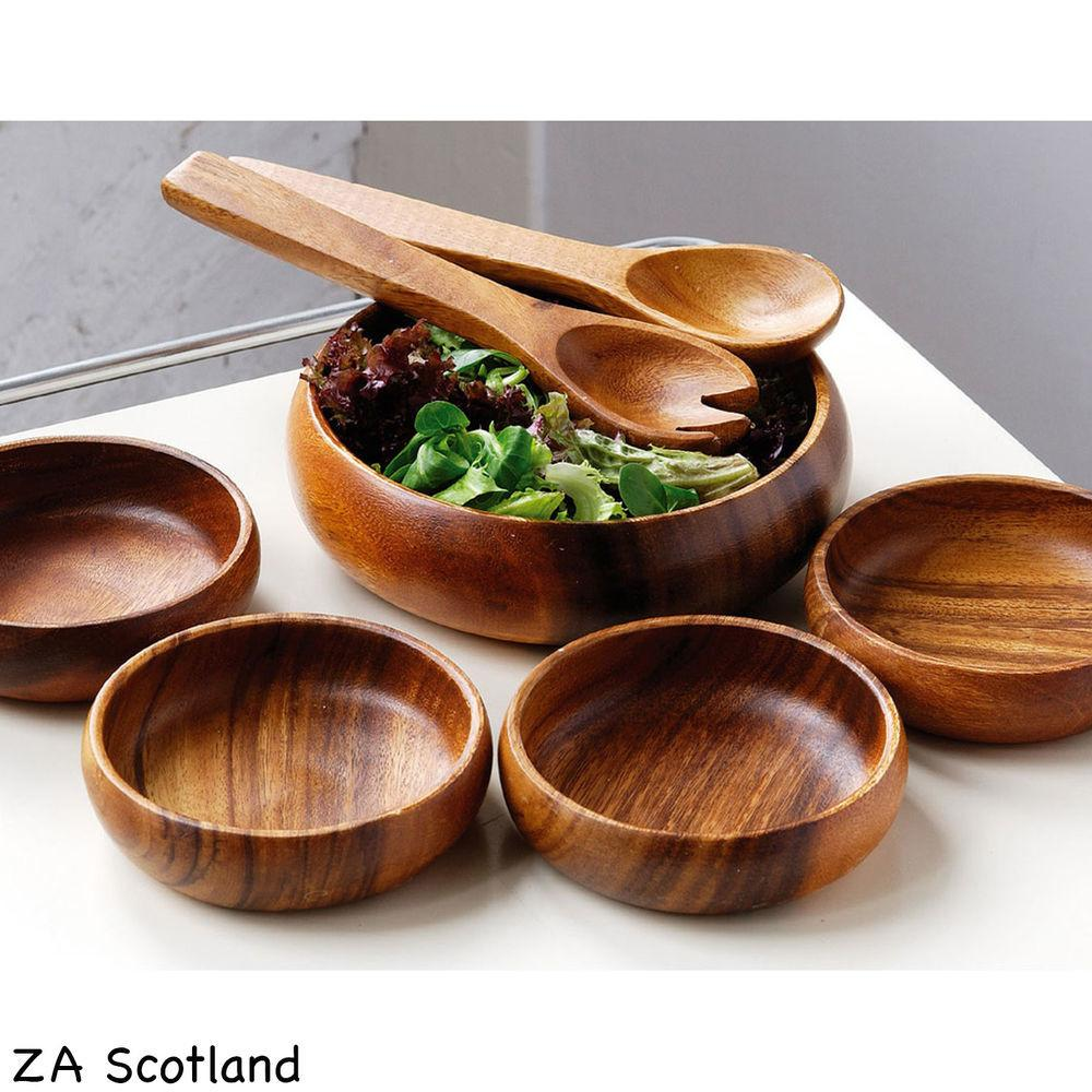 Amazing New Piece Set Wooden Food Salad Serving Bowl