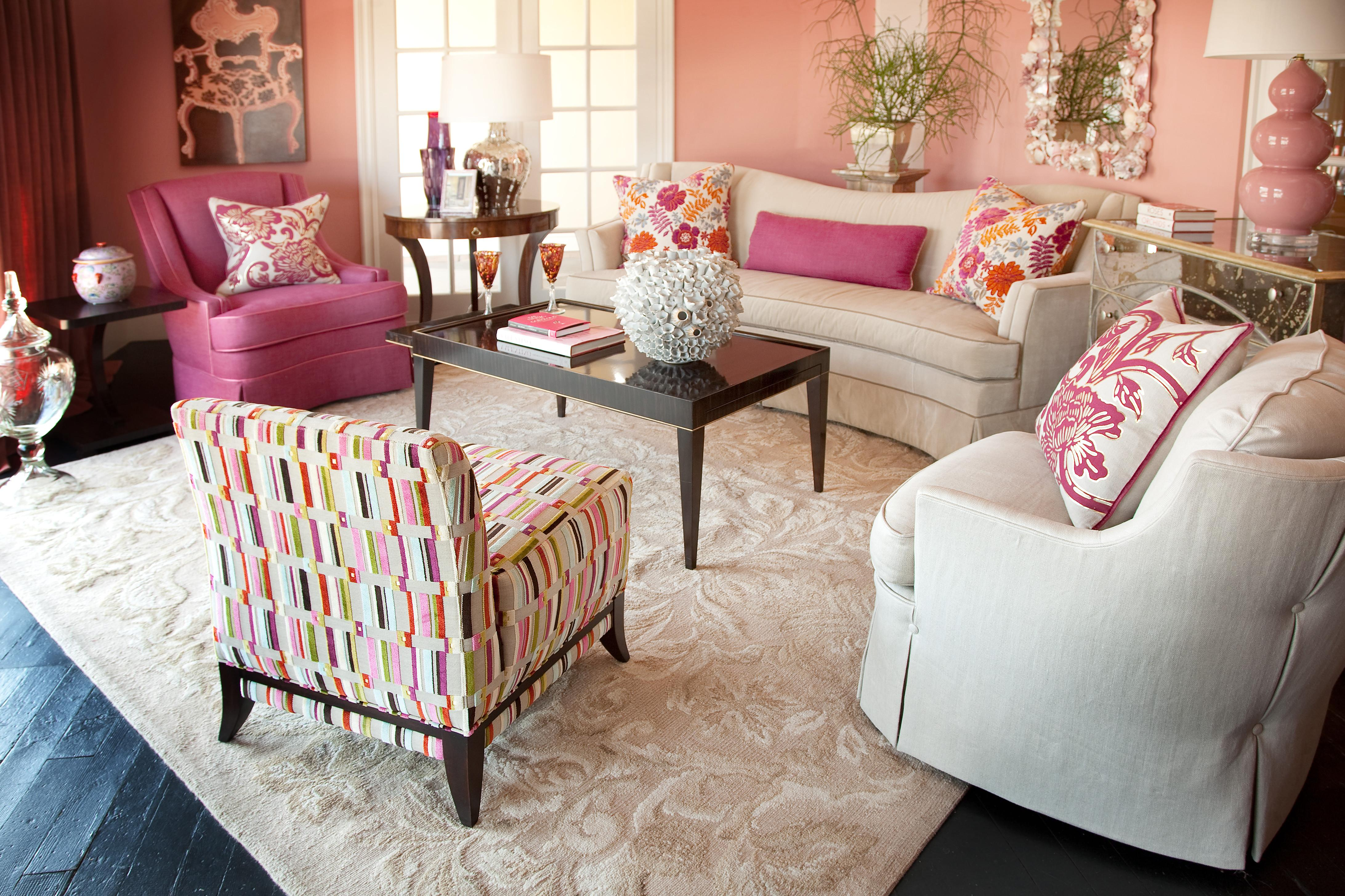 Amazing Pink Living Room Interior Design Ideas