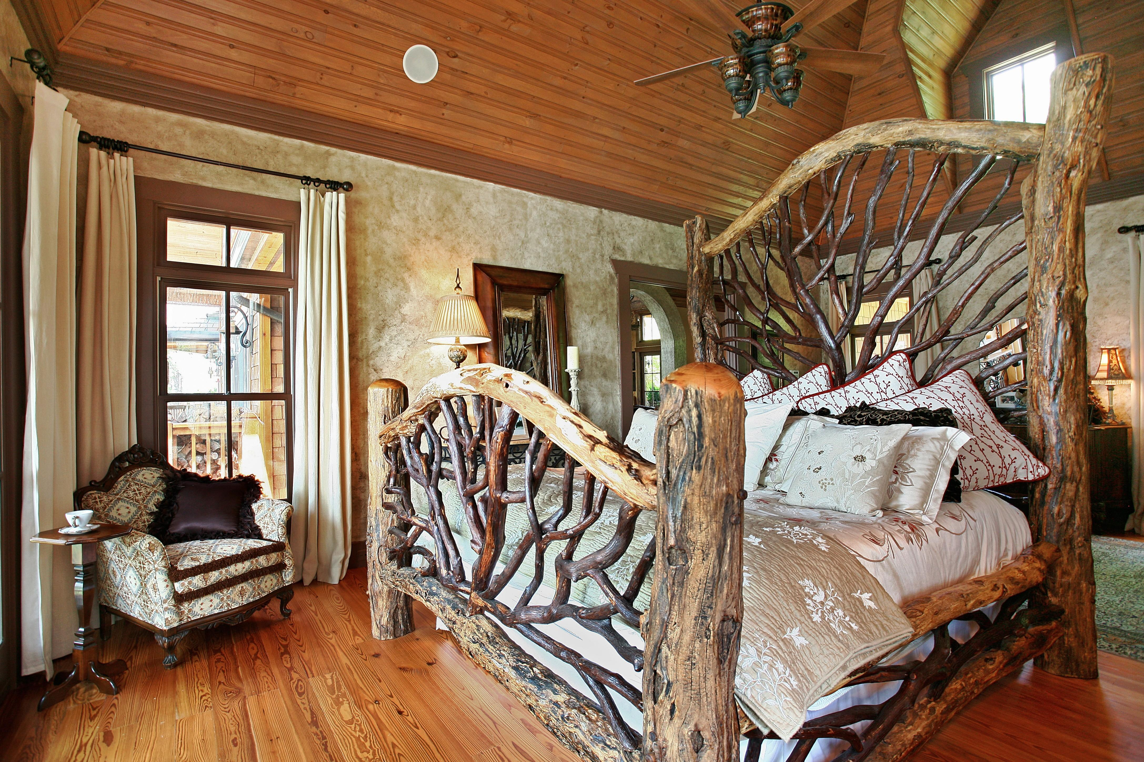 Amazing Rustic Bedroom Interior Design Ideas Log Wood