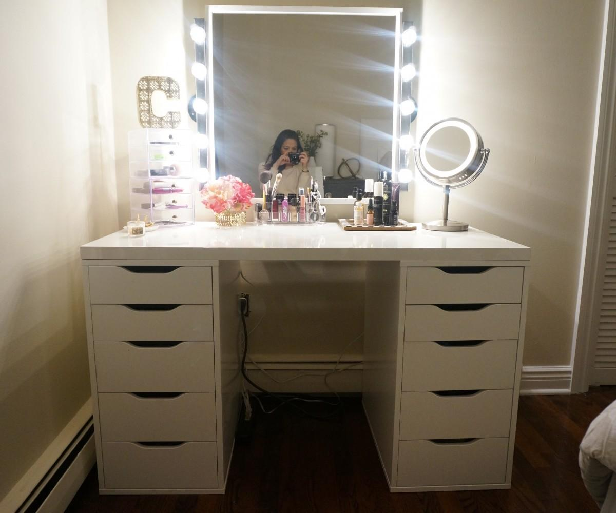 Amazing Storage Setsets Table Makeup Vanity Lights