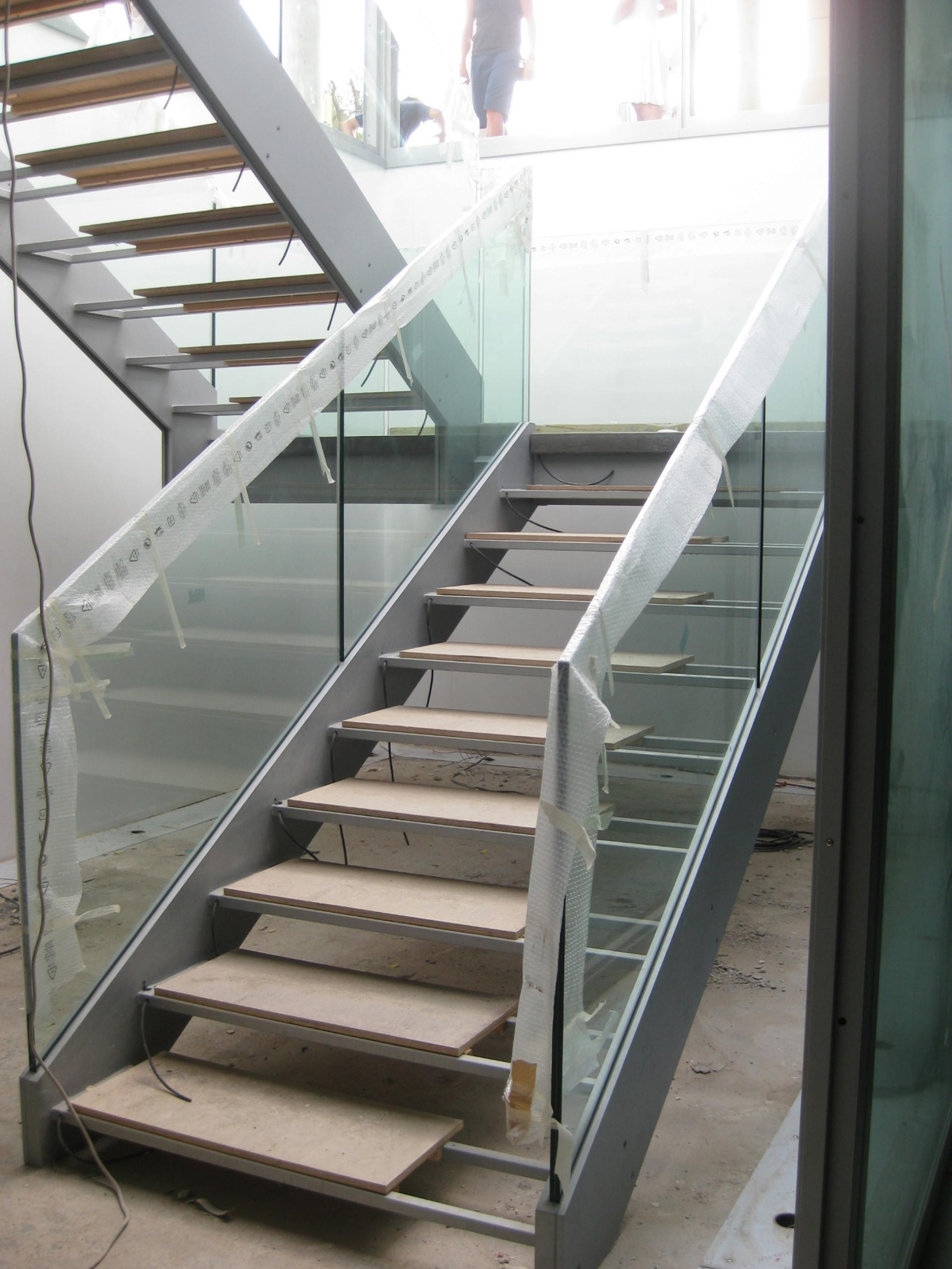 Amazing Two Levels Open Staircase Remodelling Glass