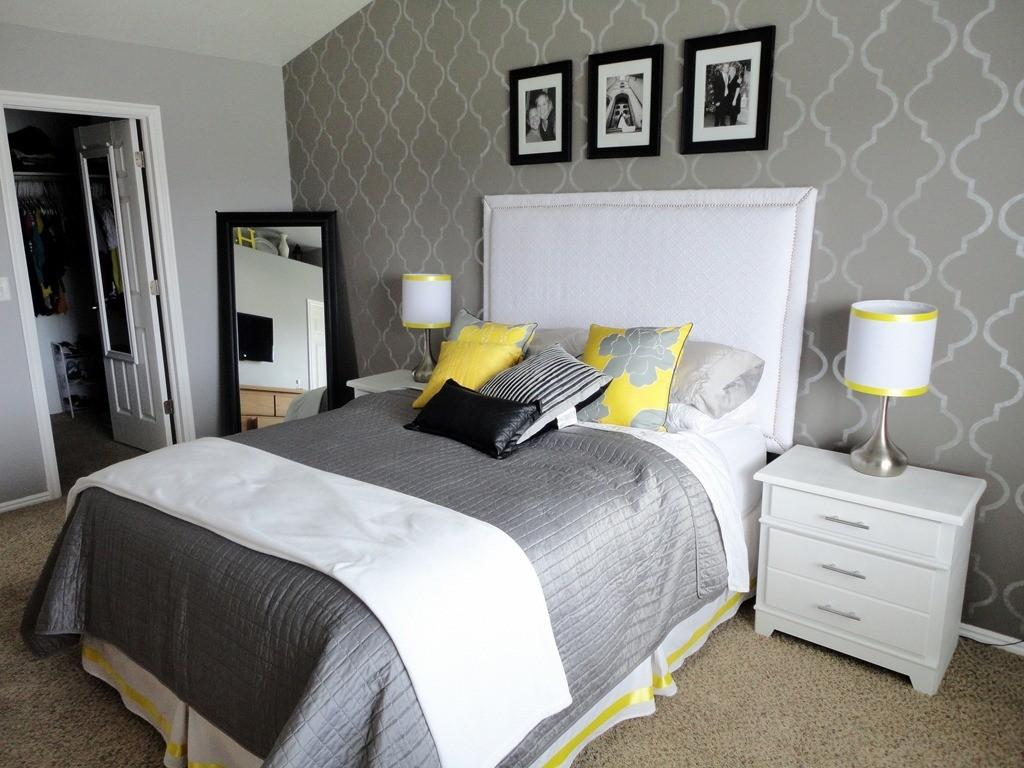 Amazing Yellow Grey White Bedroom Furniture Home