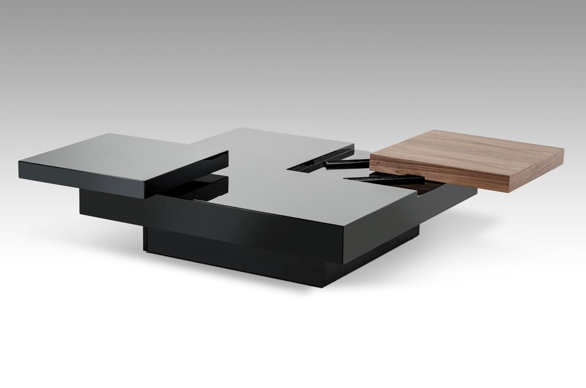 Ambry Modern Walnut Black Coffee Table