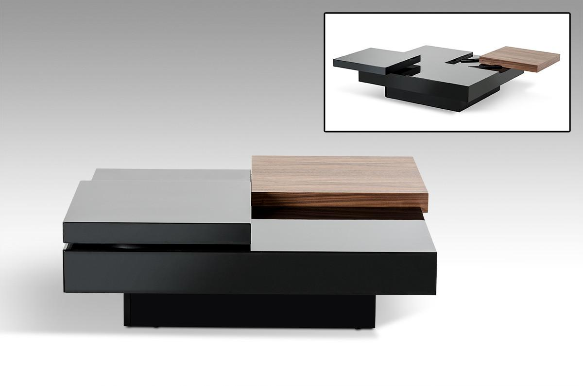 Ambry Modern Walnut Black Coffee Table Tables