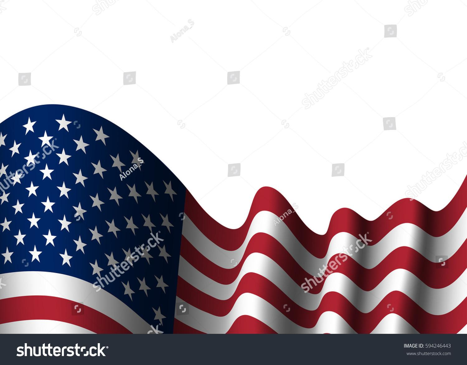 American Flag 4th July Independence Day Stock Illustration