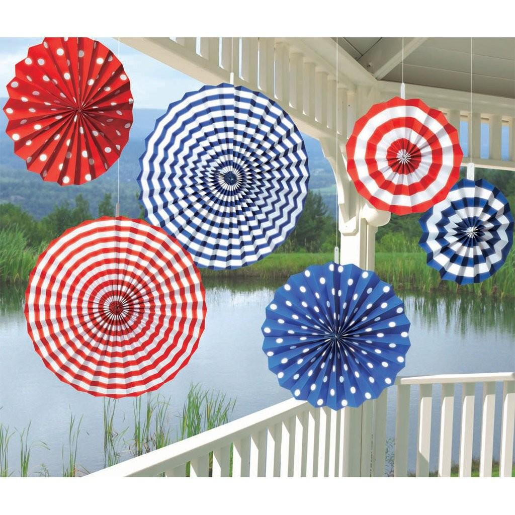 American Summer Stripes Paper Fans Ziggos Party