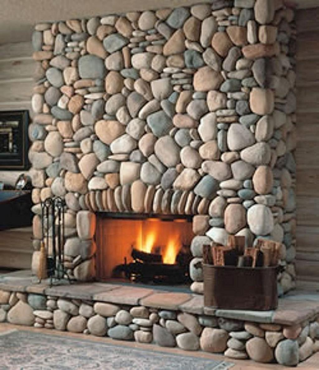 Amiable Stone Veneer Decorative Fireplace Design Modern