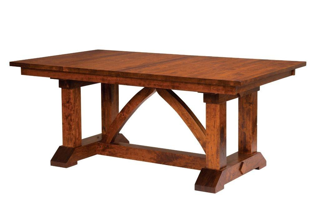 Amish Farmhouse Trestle Dining Table Rectangle Solid Wood