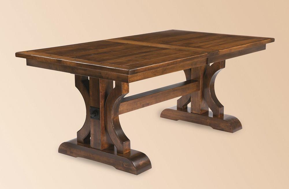 Amish Rustic Plank Trestle Dining Table Rectangle Solid