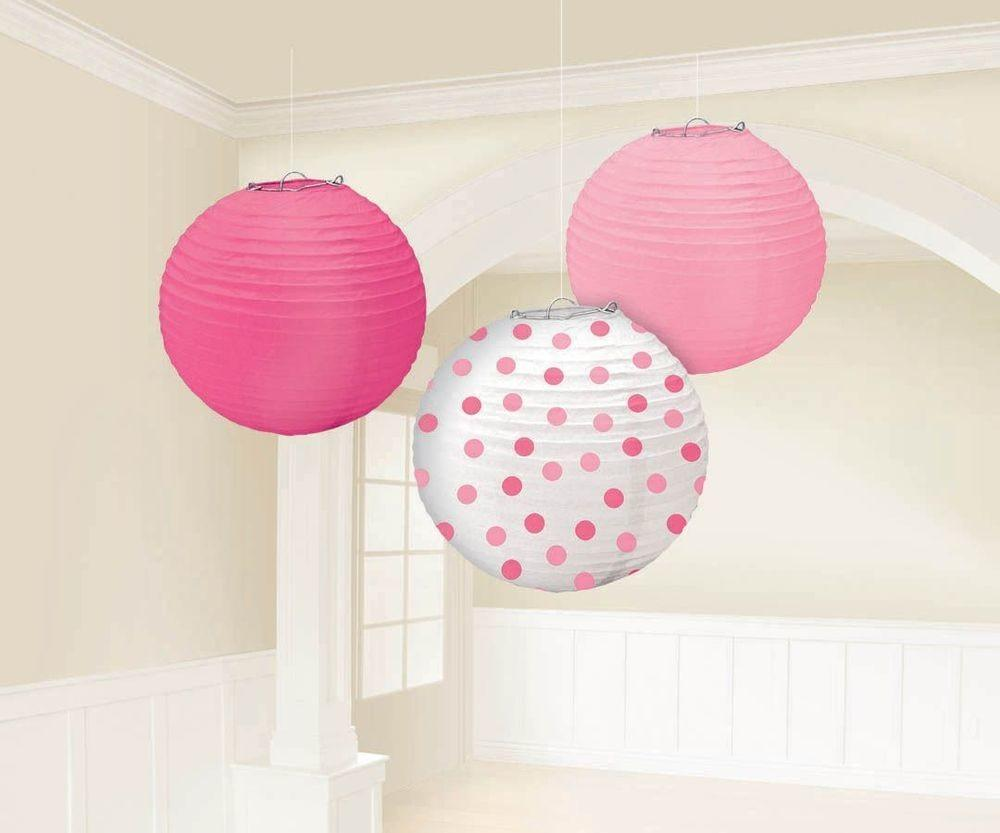 Amscan Pink Baby Shower Paper Chinese Lanterns Party