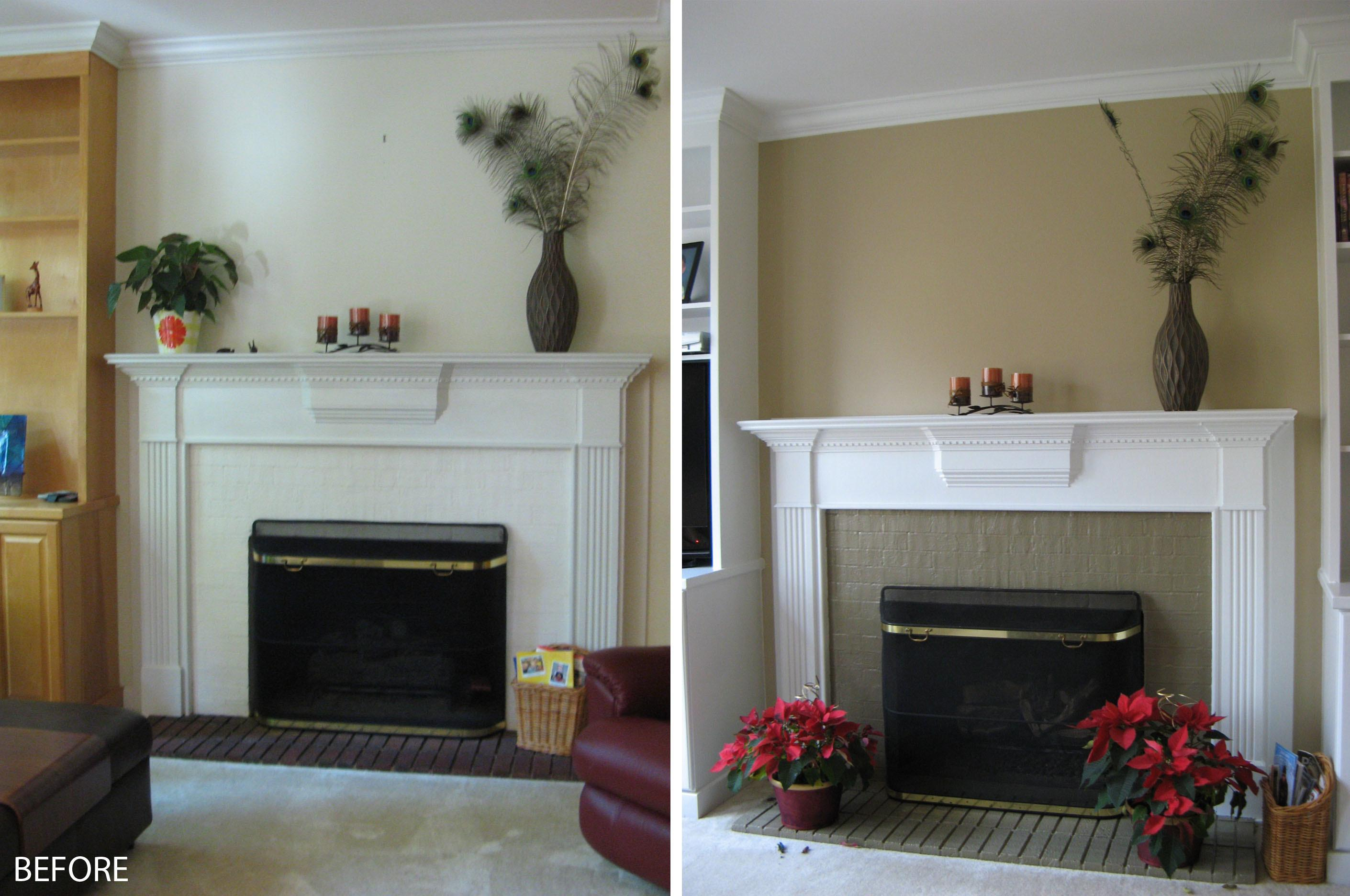 Amusing Before After White Mantel Painted Fireplace