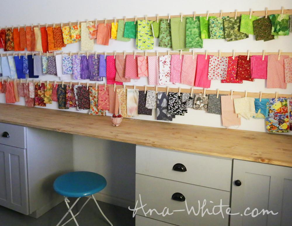 Ana White Clothespin Fabric Storage Rails Diy Projects