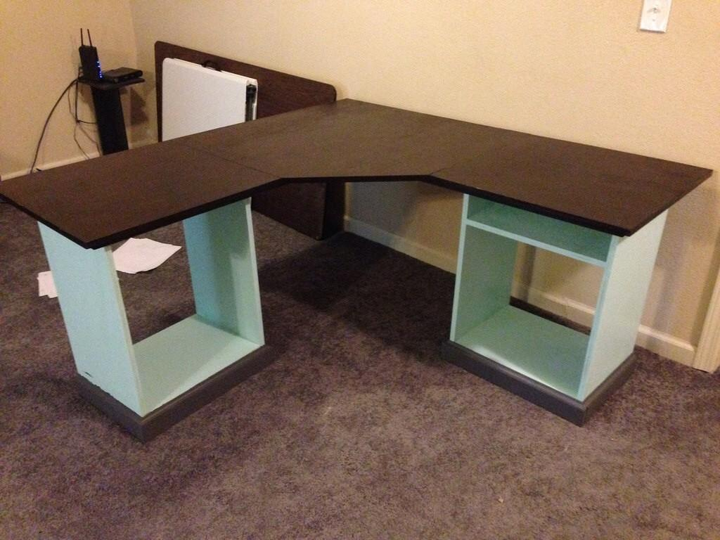Ana White Modular Office Shaped Desk Diy Projects