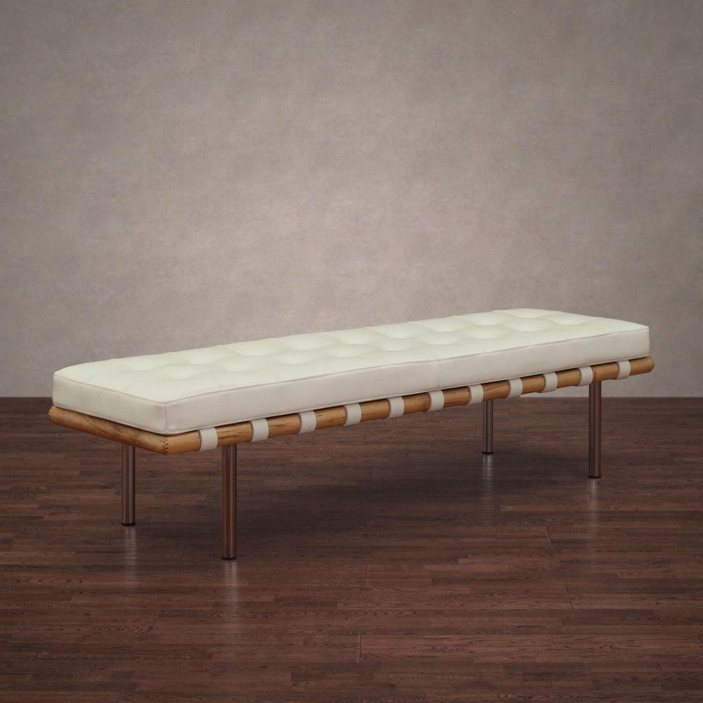 Andalucia Modern White Leather Bench Large Inch Home