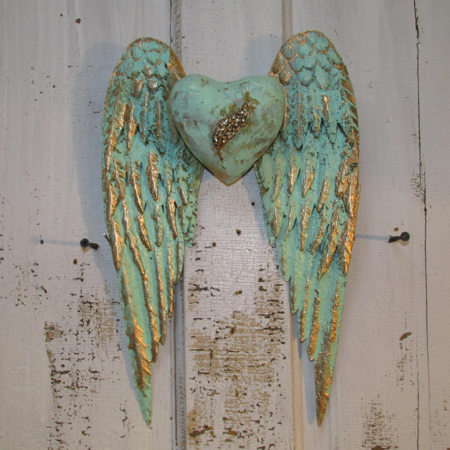 Angel Wings Wall Decor Heart Shabby Chic Rusty Metal