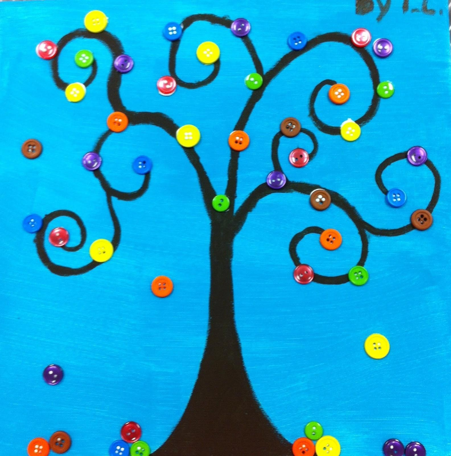 Angela Anderson Art Blog Button Trees Kids Class