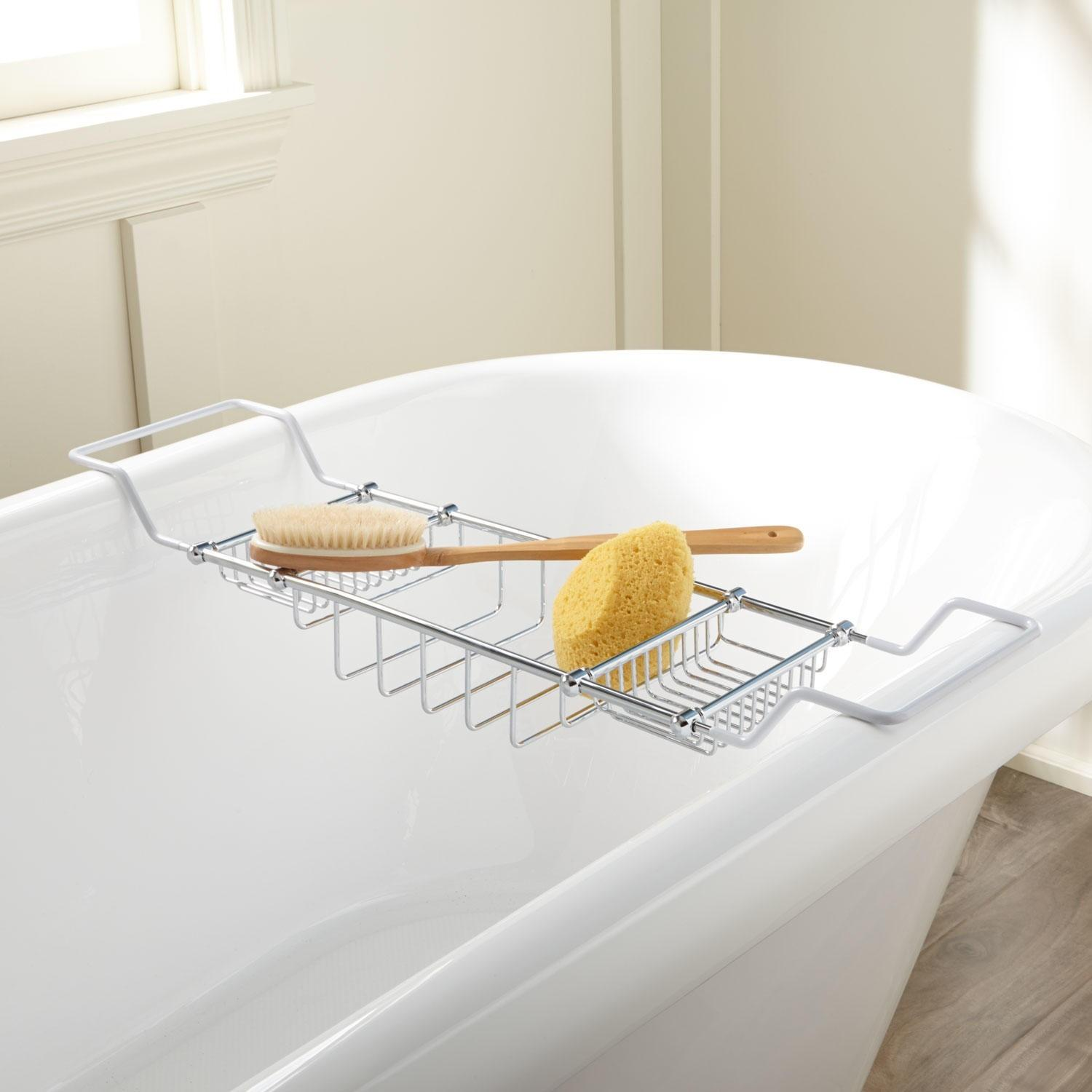 Angelo Tub Caddy Coated Ends Solid Brass Construction