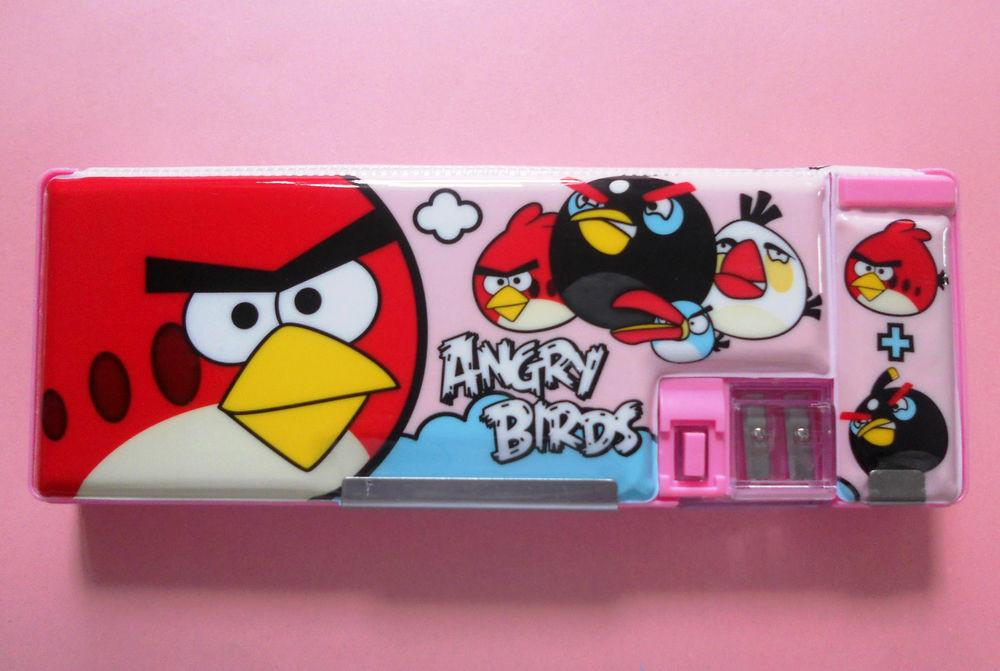 Angry Birds Pink Magnetic Two Sided Pencil Case Built