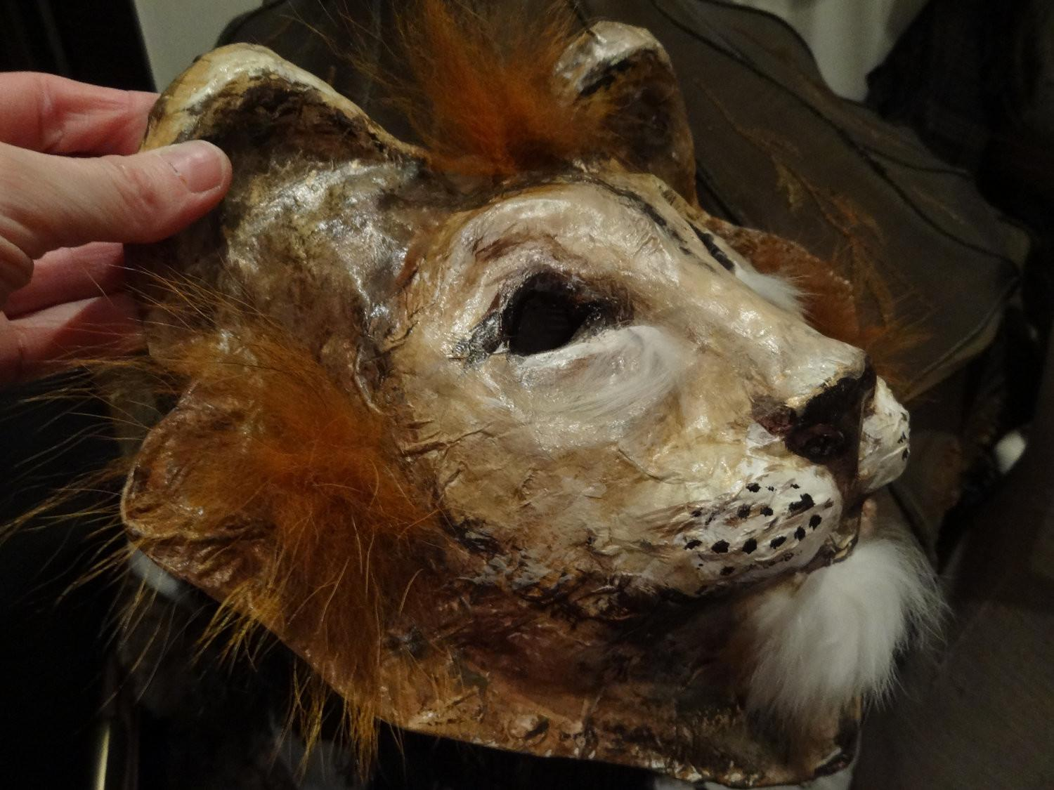 Animal Head Mask Paper Mache Lion Miesmesaberni