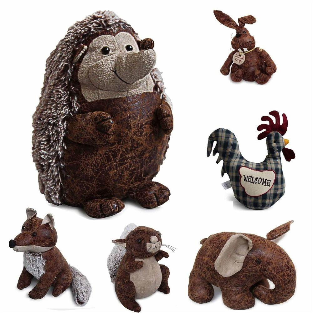 Animal Novelty Door Stop Shabby Chic Fabric Faux Vintage