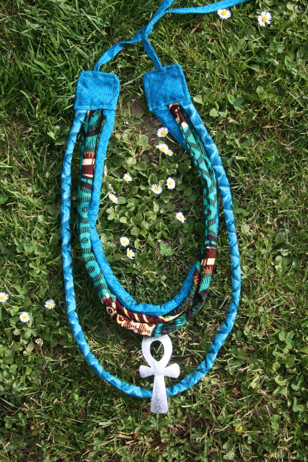 Ankara Fabric Necklace Leather Collar